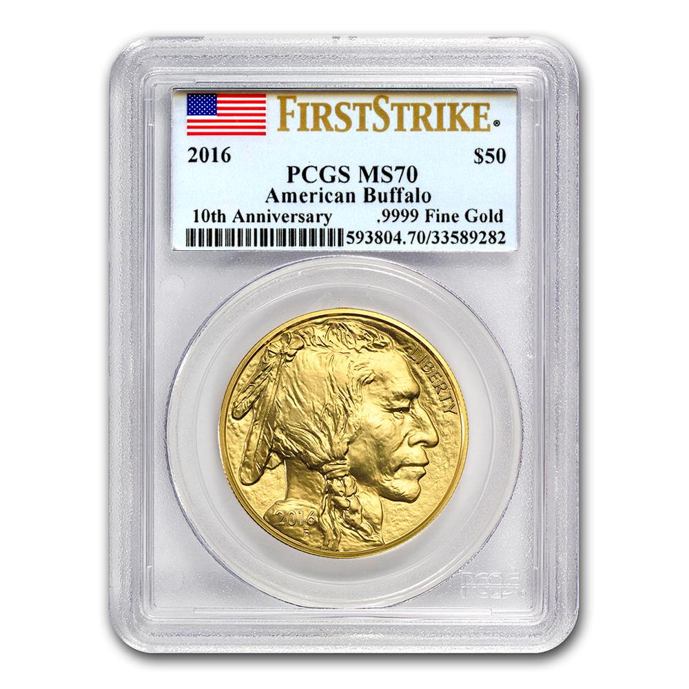 Certified Uncirculated Gold Buffalo One Ounce 2016 Ms70