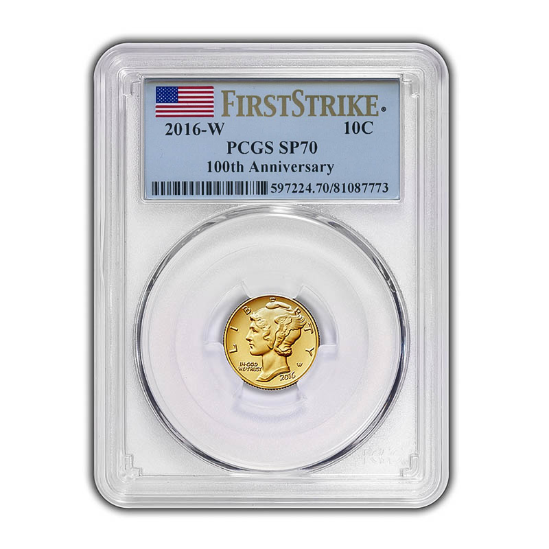 2016-W 1/10 oz Gold Mercury Dime Coin NGC SP70
