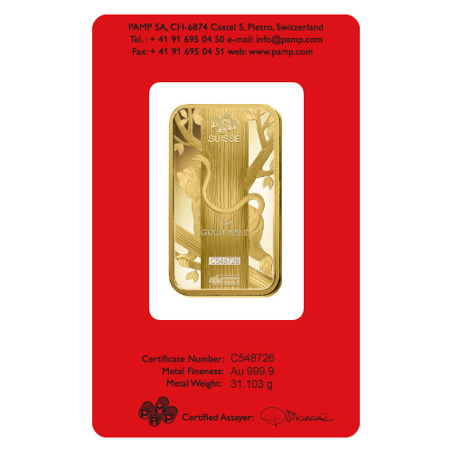 Pamp Suisse 1 Ounce Gold Bar 2016 Monkey Design Golden