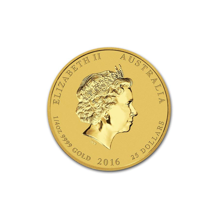 Australian Series Perth Mint II Lunar Gold Quarter Ounce 2016 Monkey