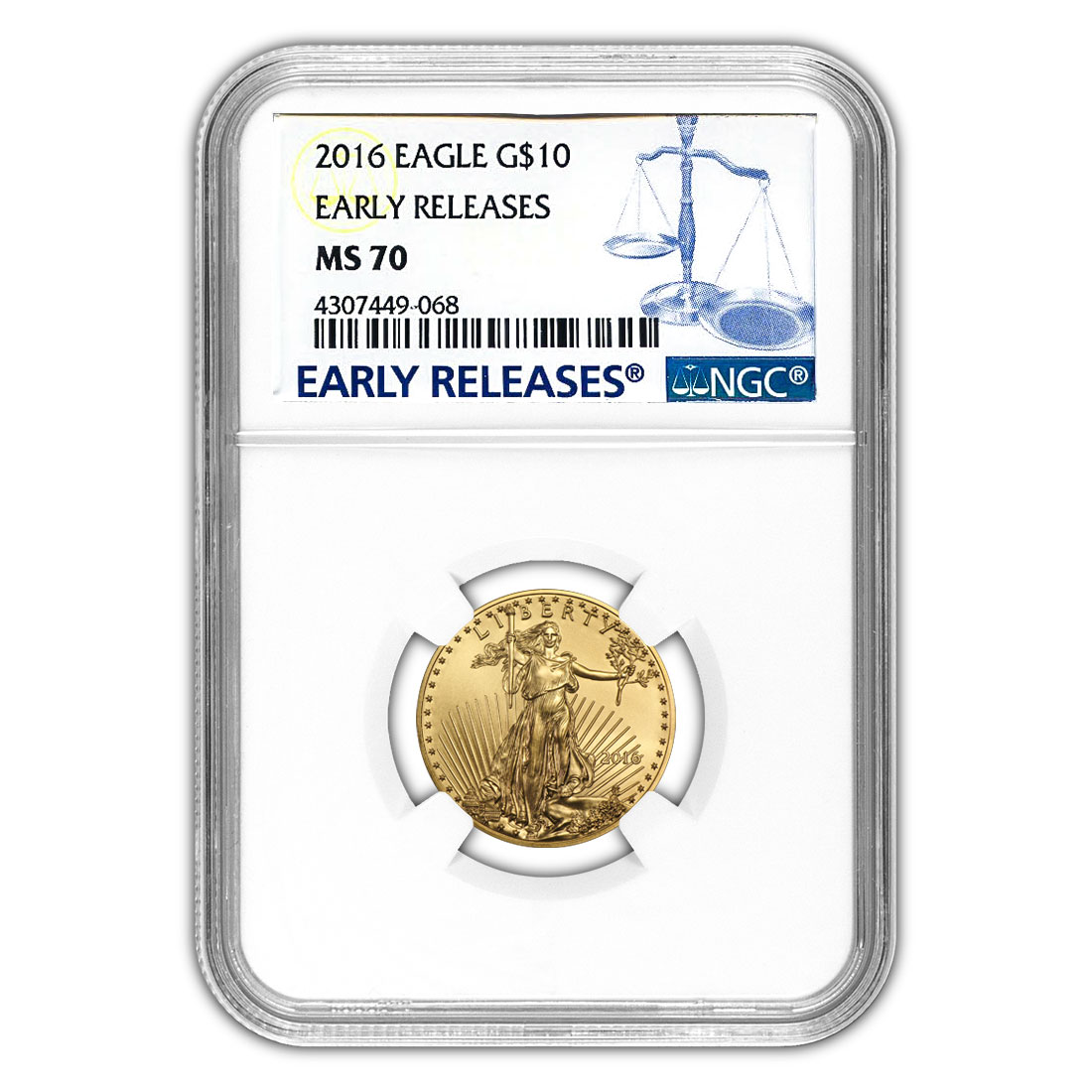 Certified American $10 Gold Eagle 2016 MS70 NGC Early Releases