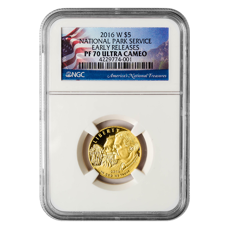 Certified Commemorative $5 Gold 2016-W National Park Service PF70 NGC Early Releases