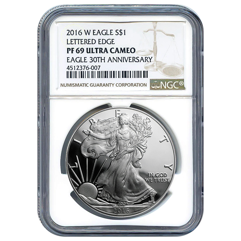 Certified Proof Silver Eagle 2016-W PF69 NGC  Lettered Edge