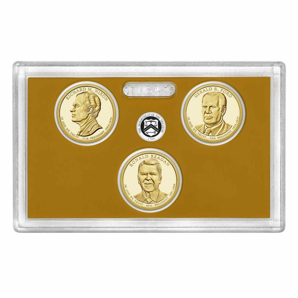 US Presidential Dollar 3pc Proof Set 2016 Without Box