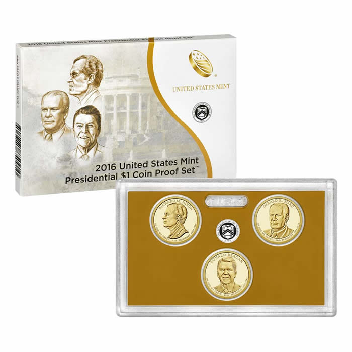 US Presidential Dollar 3pc Proof Set 2016