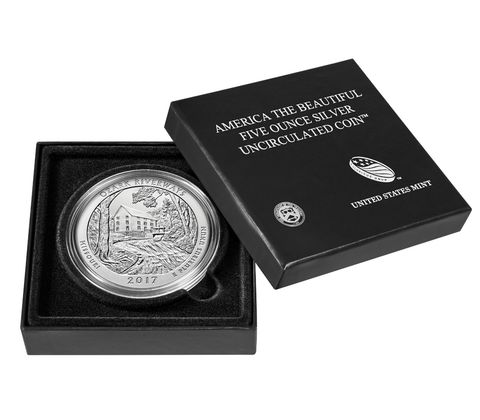 2017-P 5 oz Silver ATB Ozark National Scenic Riverways (w Box and COA)