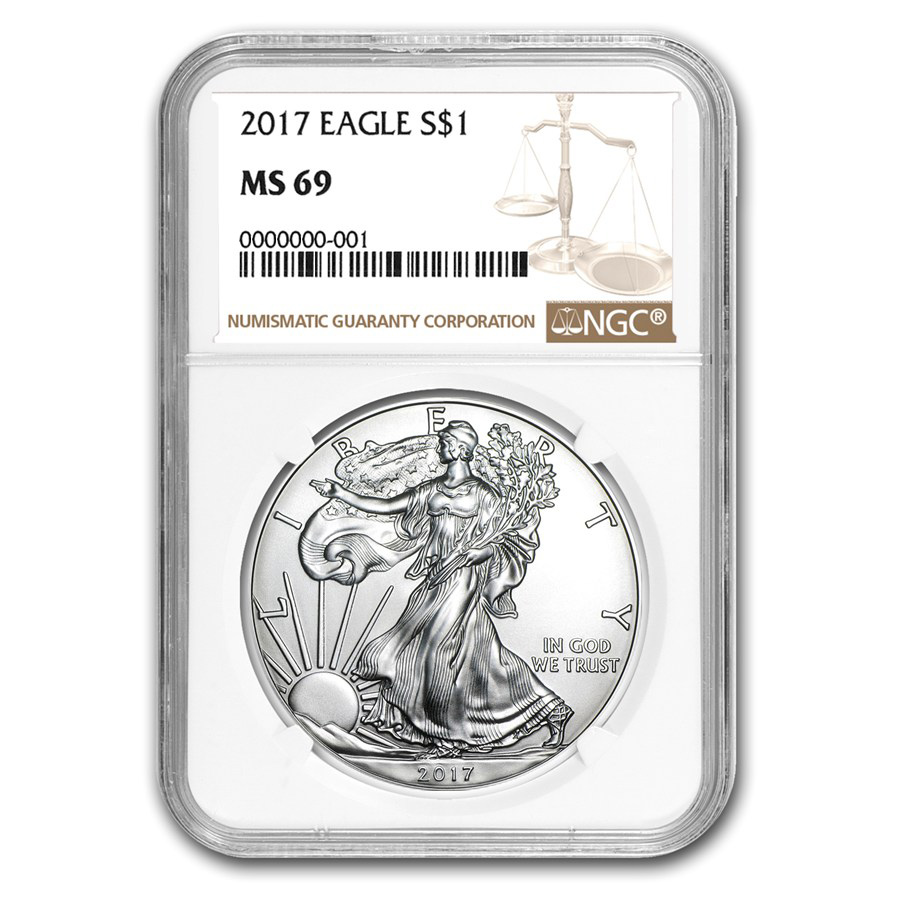 Certified Uncirculated Silver Eagle 2017 MS69 NGC