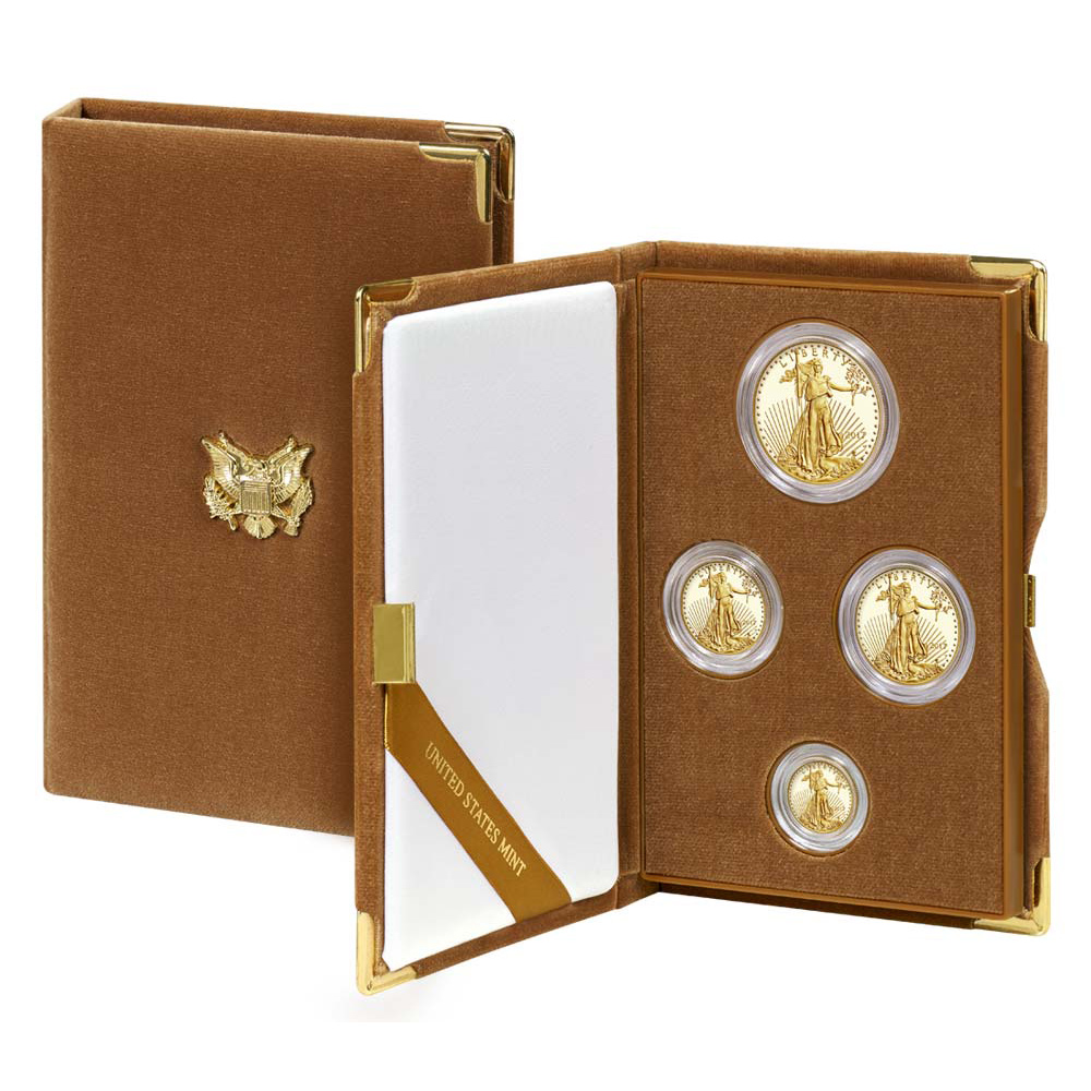 Proof American Gold Eagle 4pc Set In Box 2017