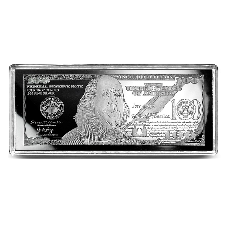Silver 4 Ounce Bar - 2019 $100 Bill .999 Fine