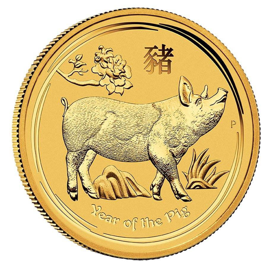 Australian Perth Mint Series II Lunar Gold 1/2 oz 2019 Pig
