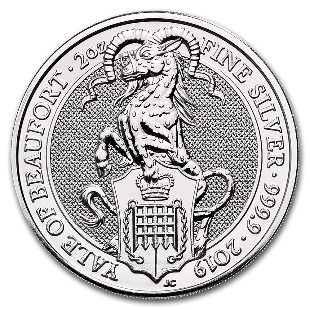 2019 2 oz British Silver Queen's Beast The Yale of Beaufort Coin (BU)