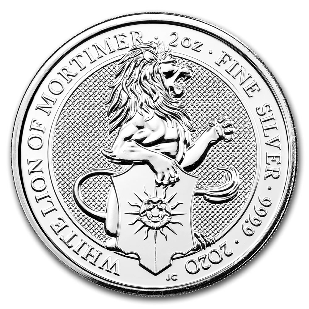 2020 2 oz British Silver Queen's Beast The White Lion Coin (BU)