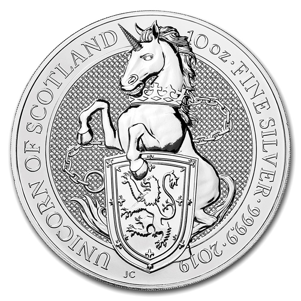 2019 10 oz British Silver Queen's Beast Unicorn Coin (BU)