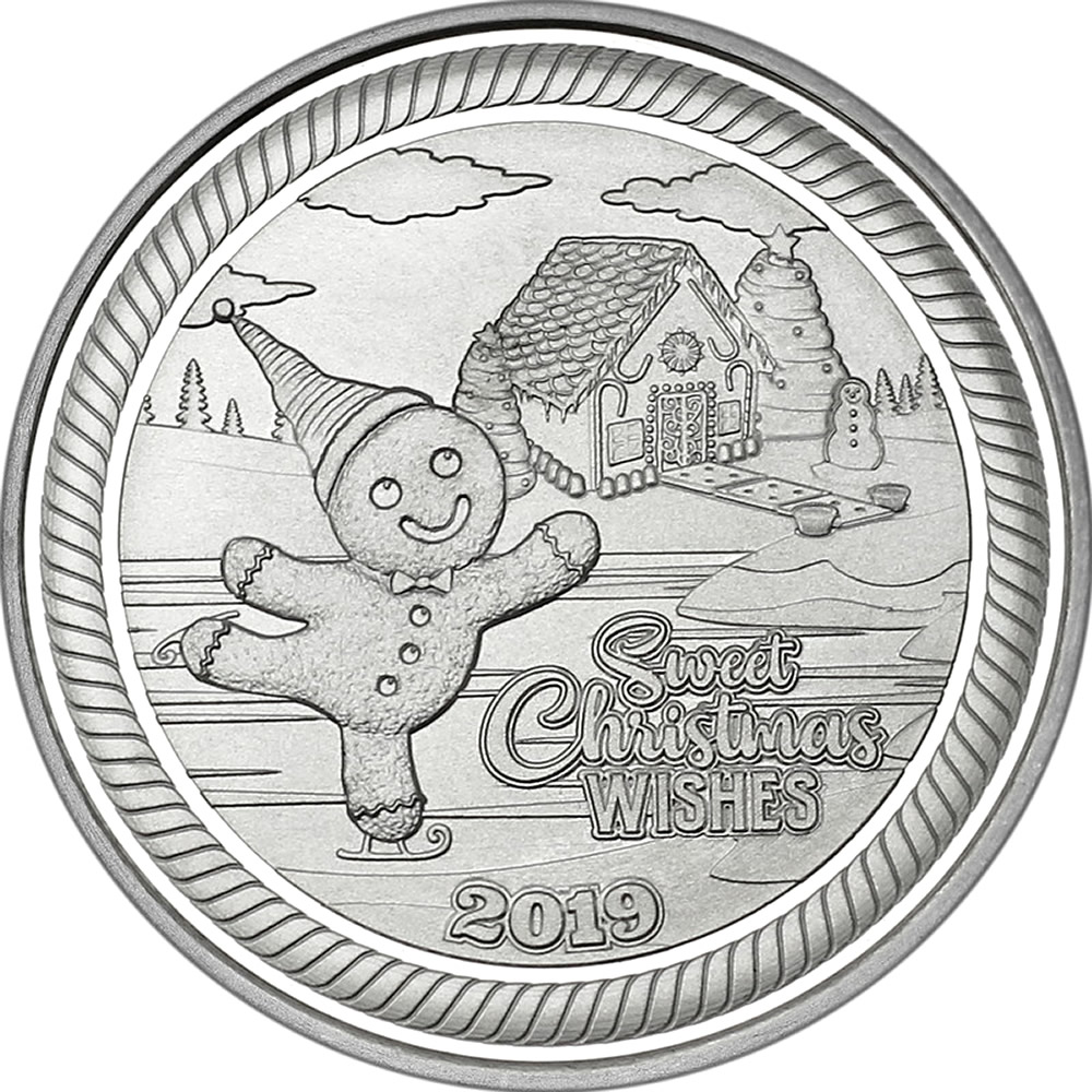 2019 1oz Gingerbread Man Christmas Silver Round (X-5)