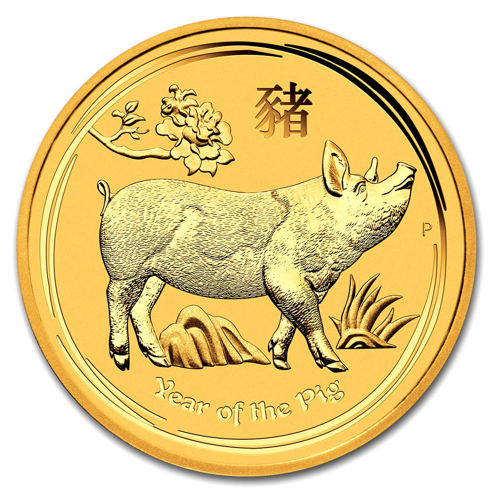 Australian Perth Mint Series II Lunar Gold One Ounce 2019 Pig