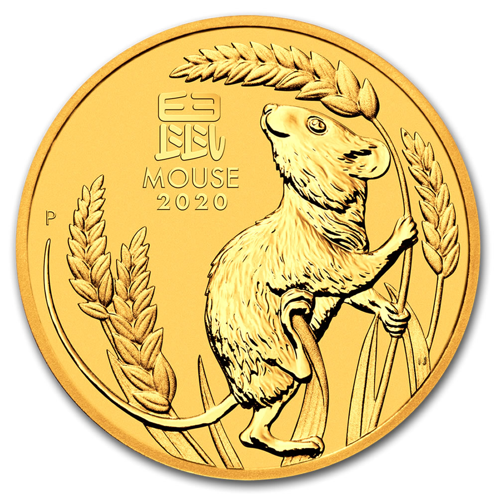 2020 Australia 1/2 oz Gold Lunar Mouse BU (Series III)