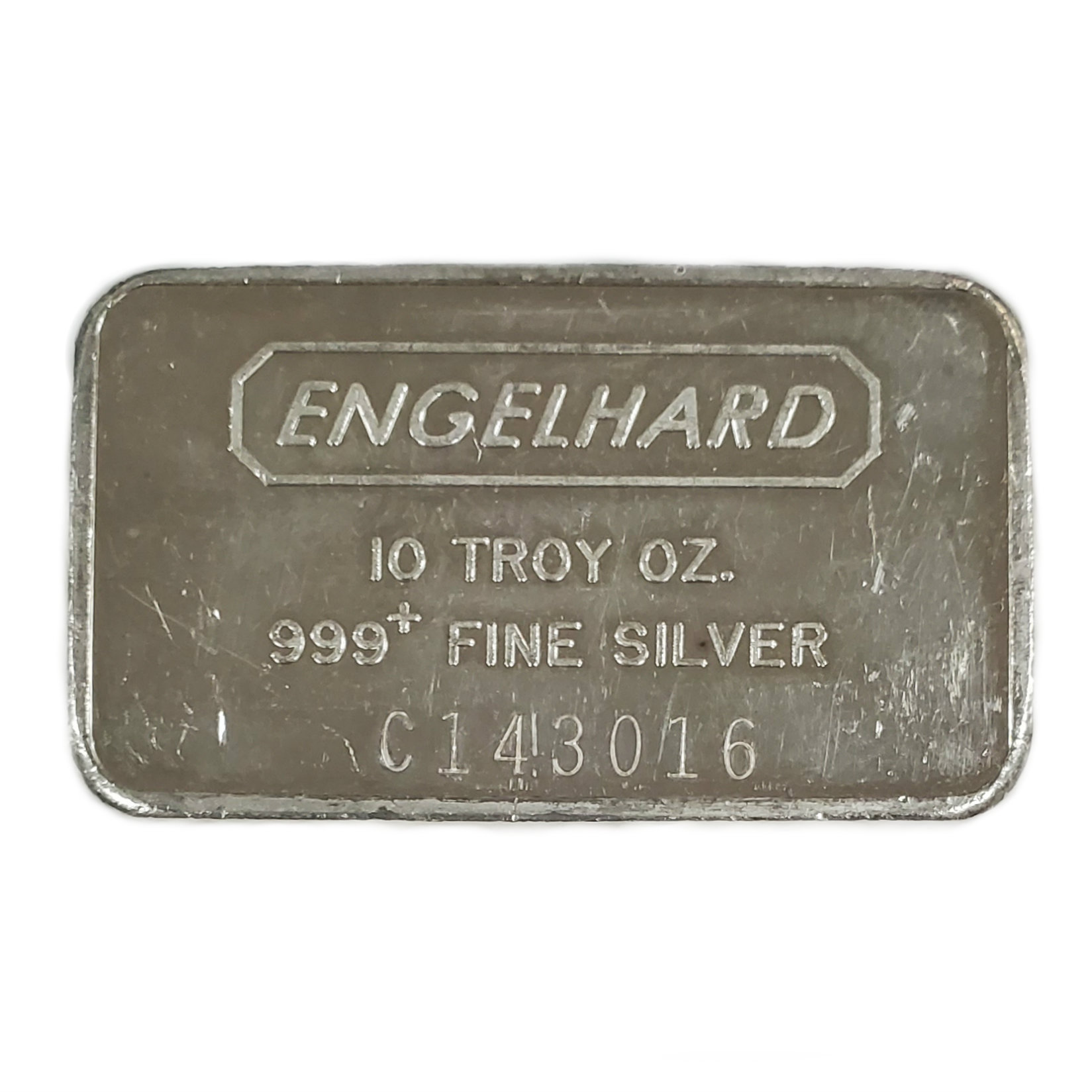Engelhard Silver Bar 10 oz Bar - Wide Struck Pebble Back