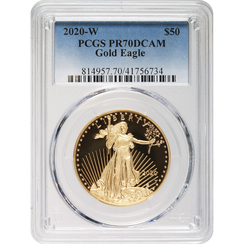Certified Proof American Gold Eagle $50 2020-W PR70DCAM PCGS