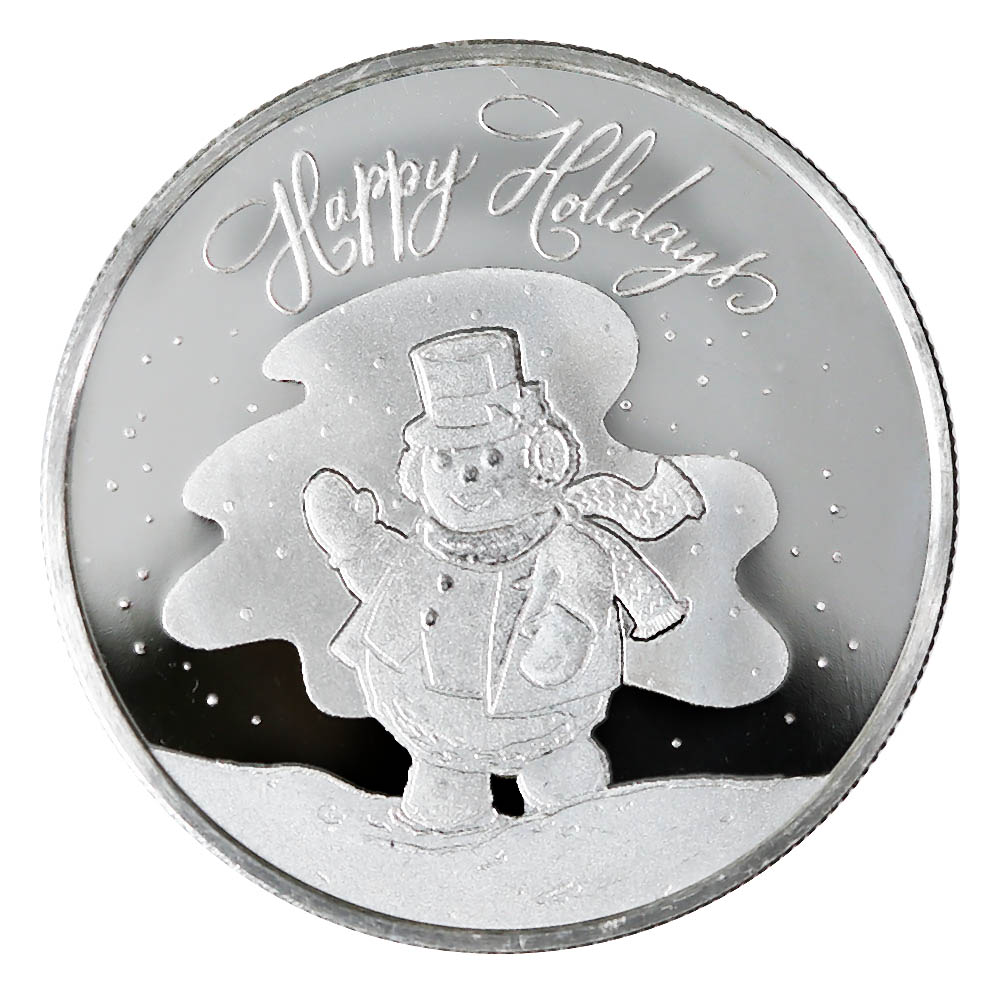 2020 Happy Holiday Snowman 1oz Silver Round (D-12)