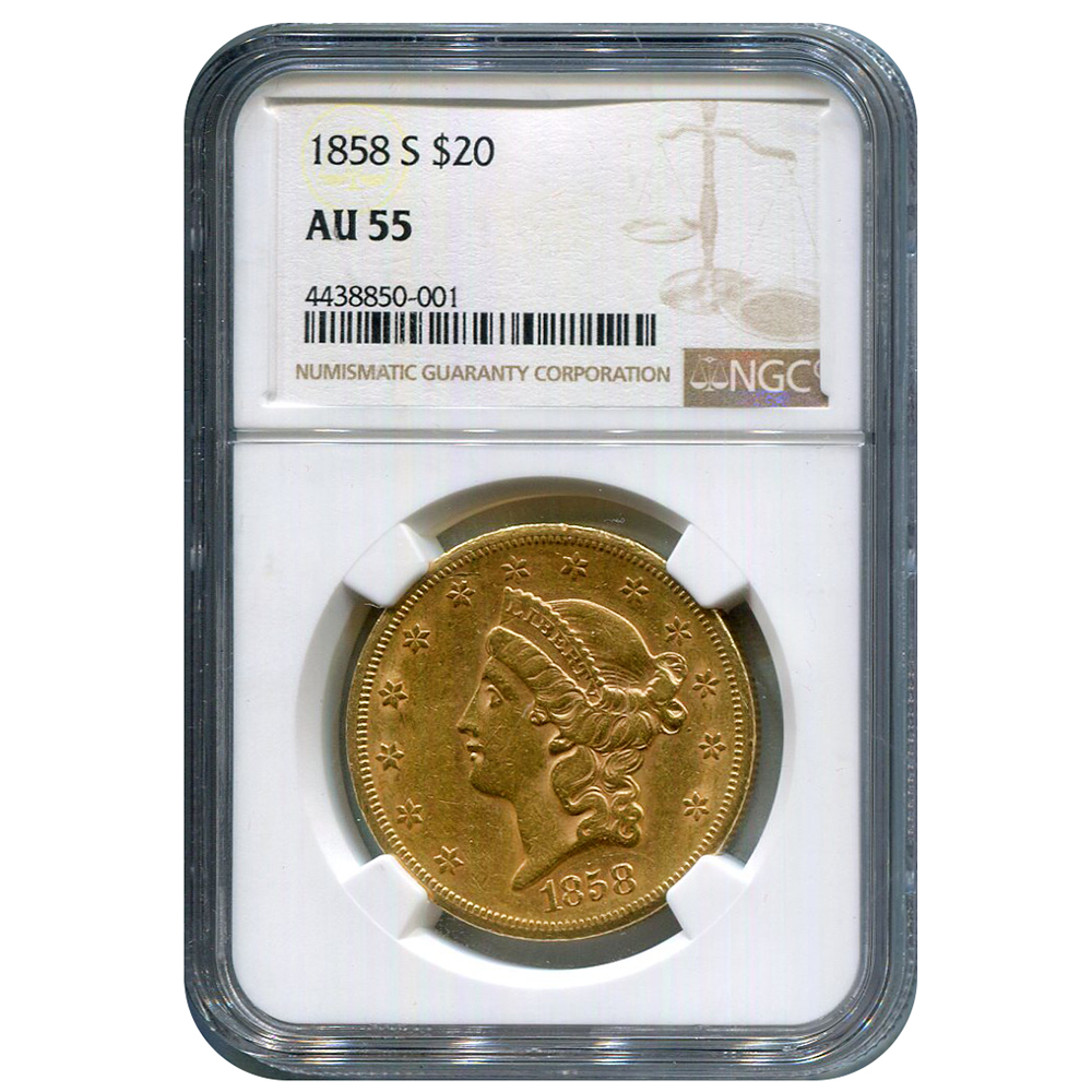 Certified US Gold $20 1858-S AU55 NGC