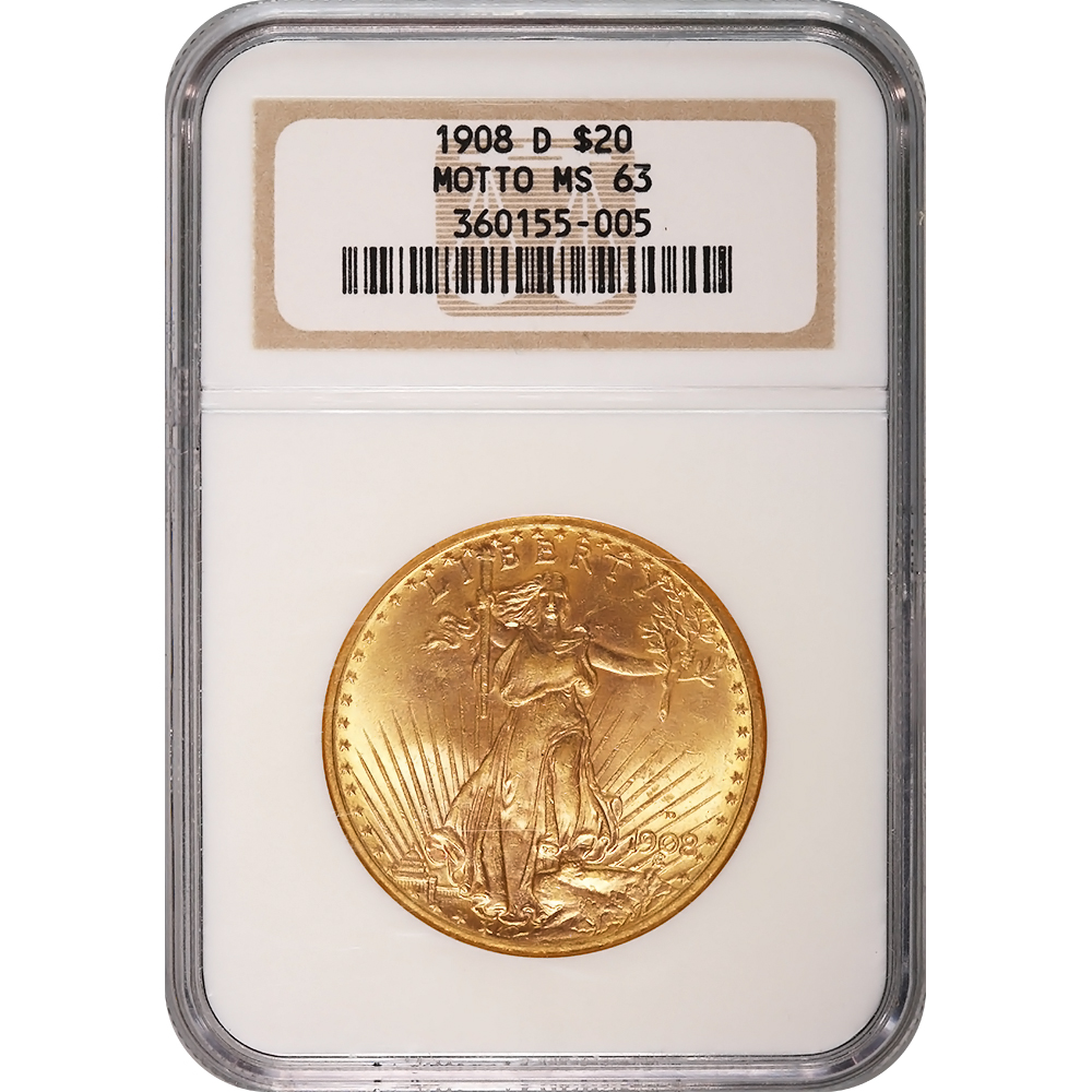 Certified $20 St Gaudens 1908-D Motto MS63 NGC