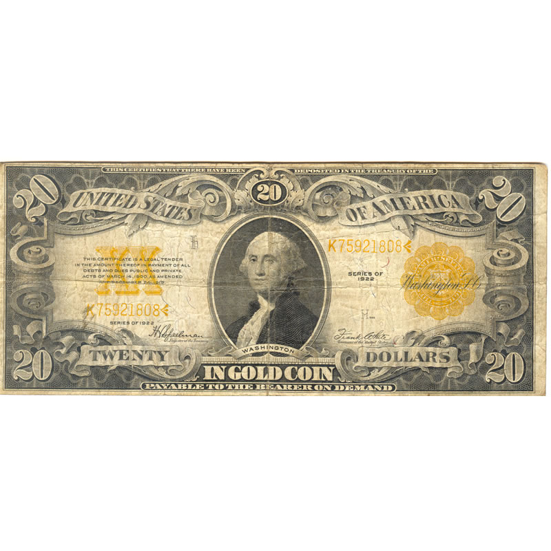 1922 $20 gold certificate VG