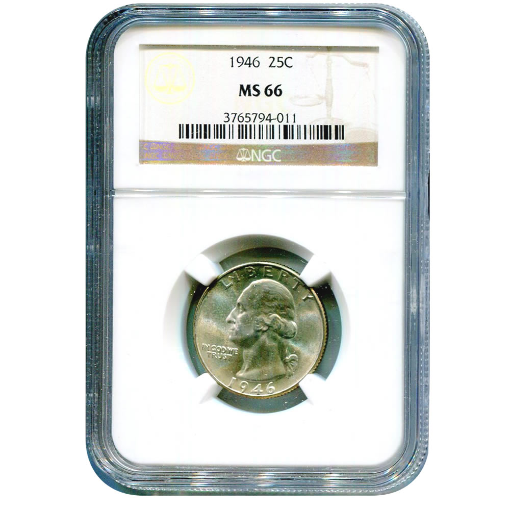 Certified Washington Quarter 1946 MS66 NGC