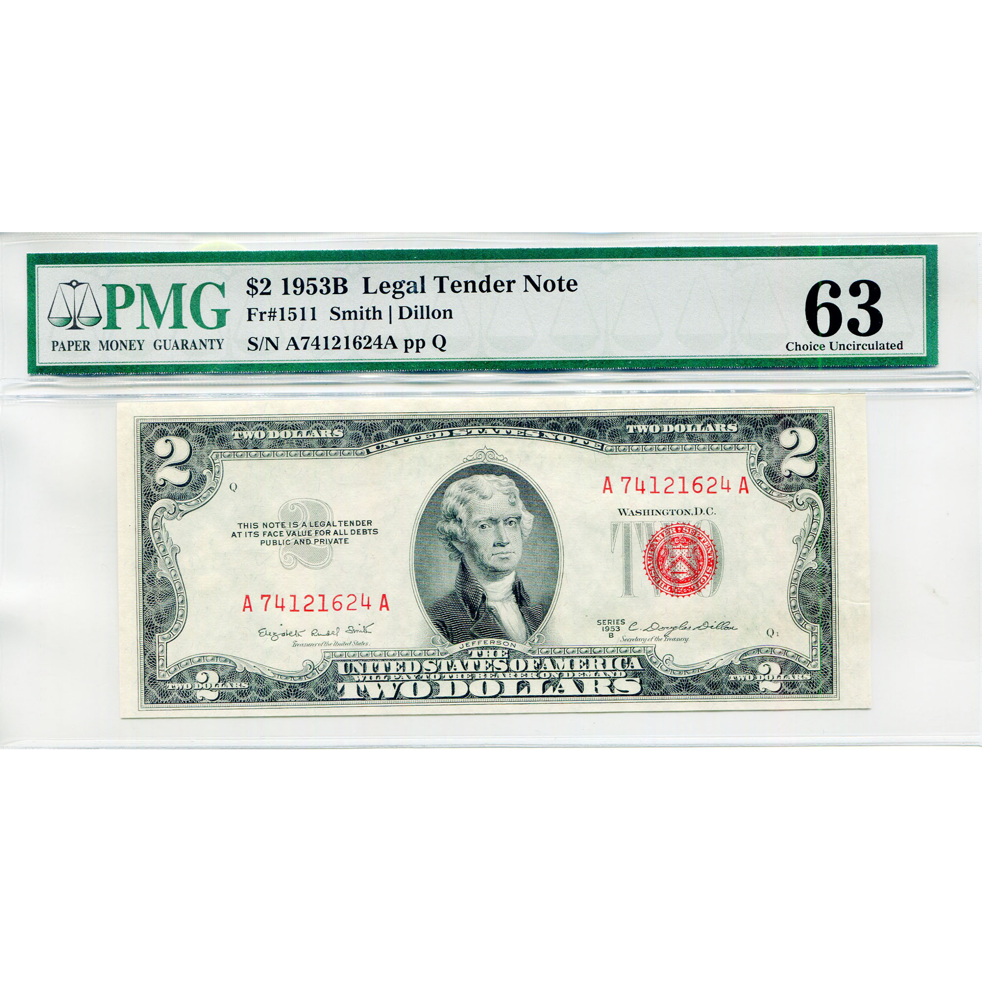1953B $2 Legal Tender Note MS63 PMG