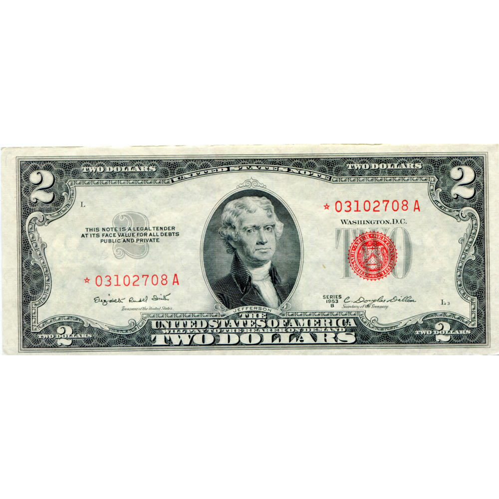 1953 Series $2 STAR United States Note XF-AU