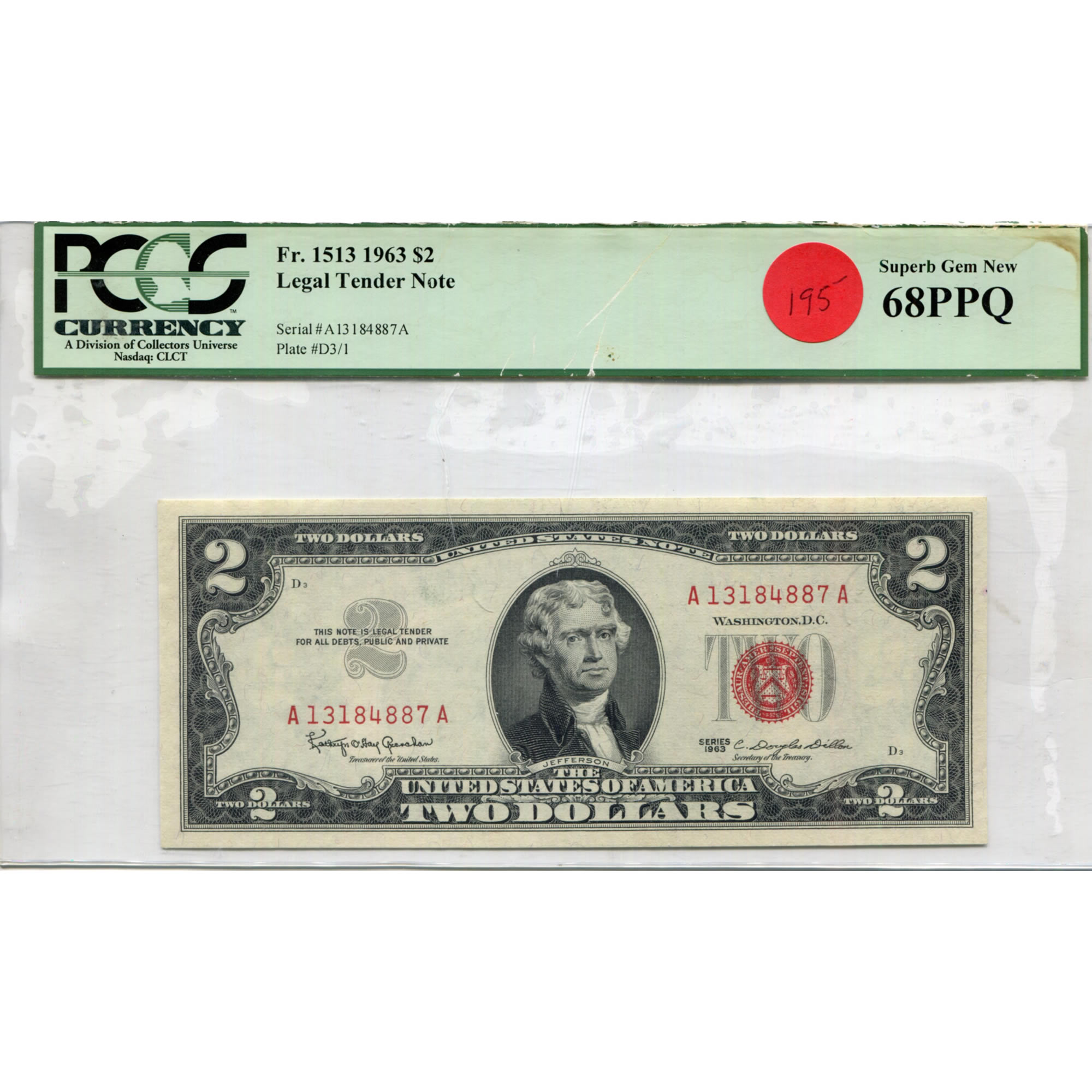 1963 $2 Legal Tender Note MS68PPQ PCGS