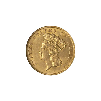 Early Gold Bullion $3 Liberty Almost Uncirculated