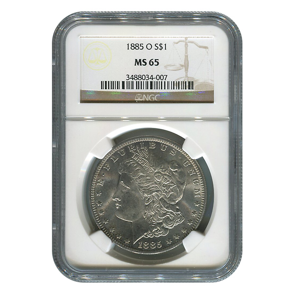 Certified Morgan Silver Dollar 1885-O MS65 NGC