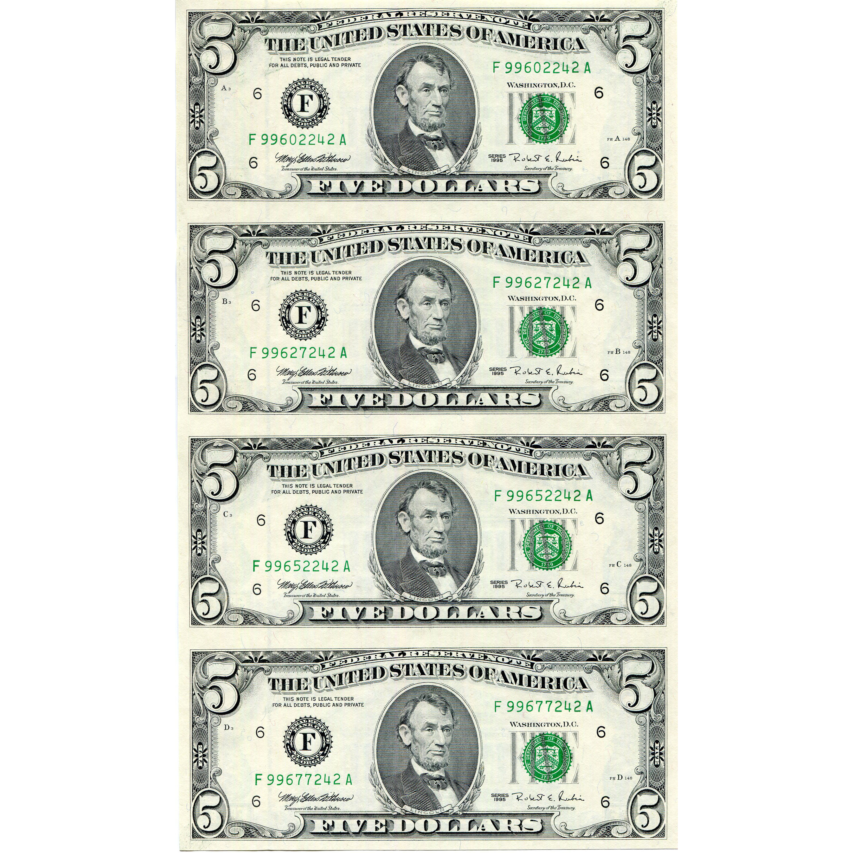 Uncut Currency Sheet 4 X 5 1995 Unc Golden Eagle Coins