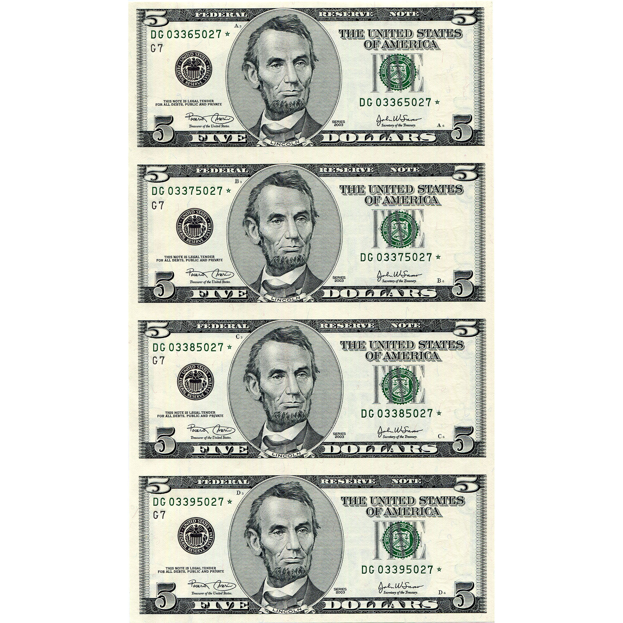Uncut Currency Sheet 4 x $5 2003 STAR UNC