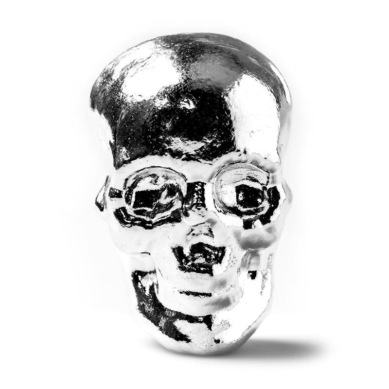 5 Oz Atlantis Mint Hand Poured 999 Silver Skull Golden