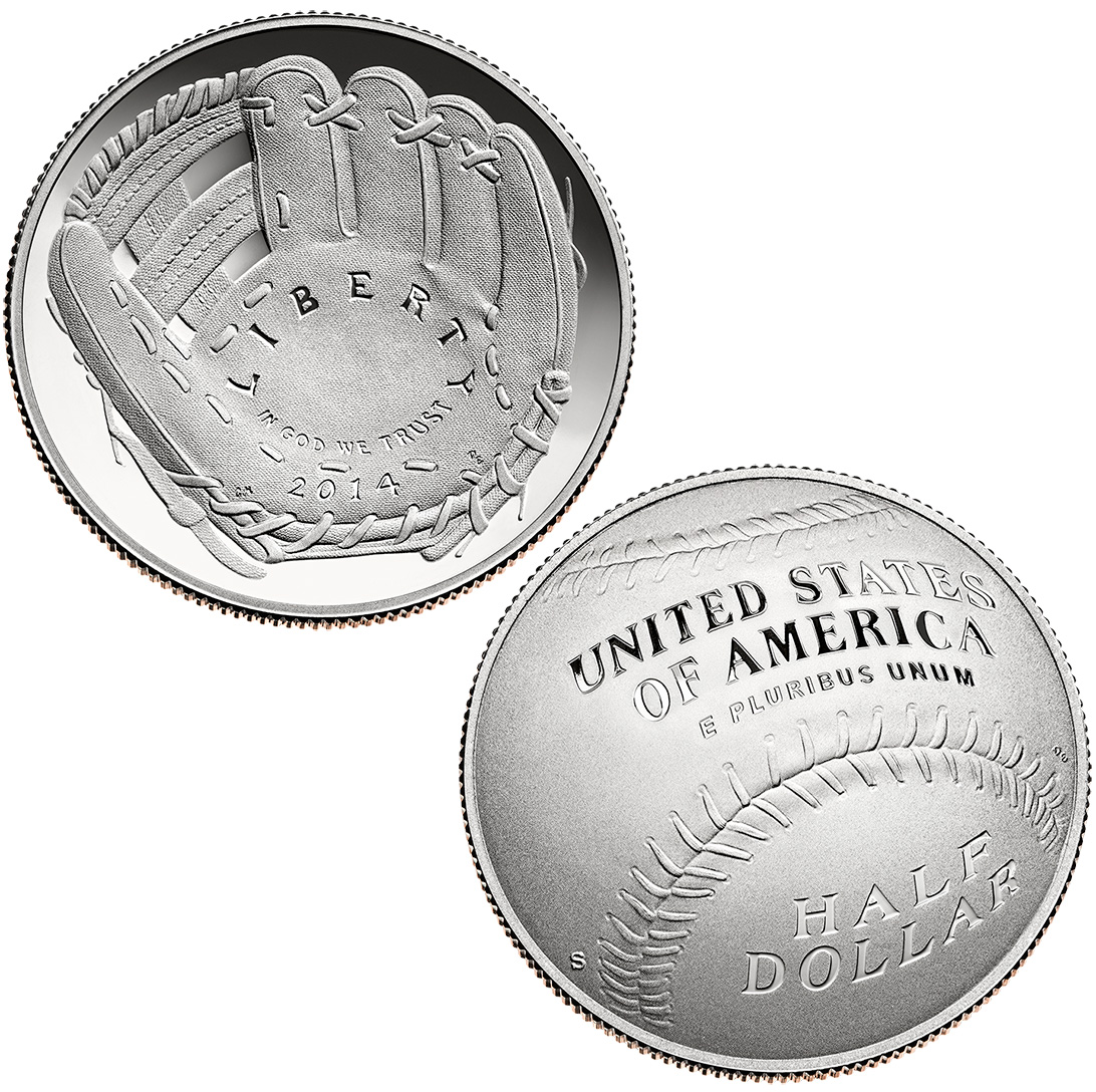 Commemorative Half Dollar 2014 Baseball Hof Proof Golden