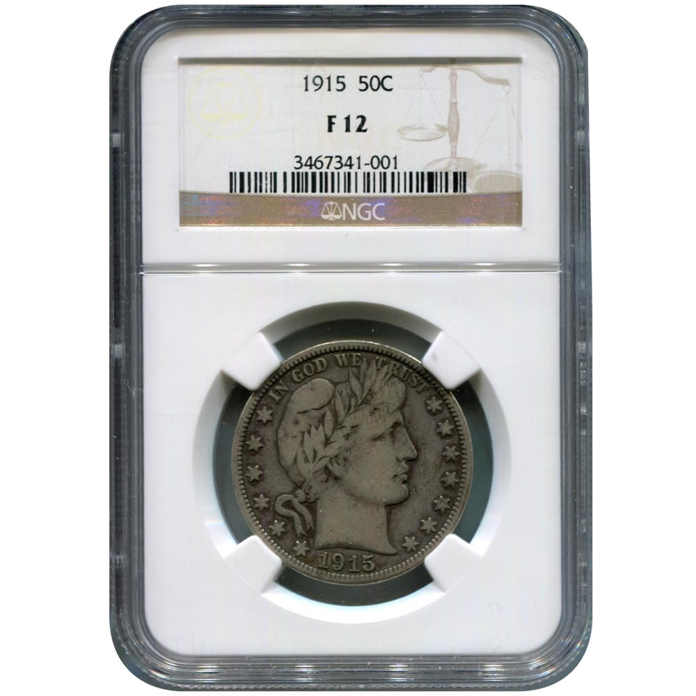 Certified Barber Half Dollar 1915 F12 NGC