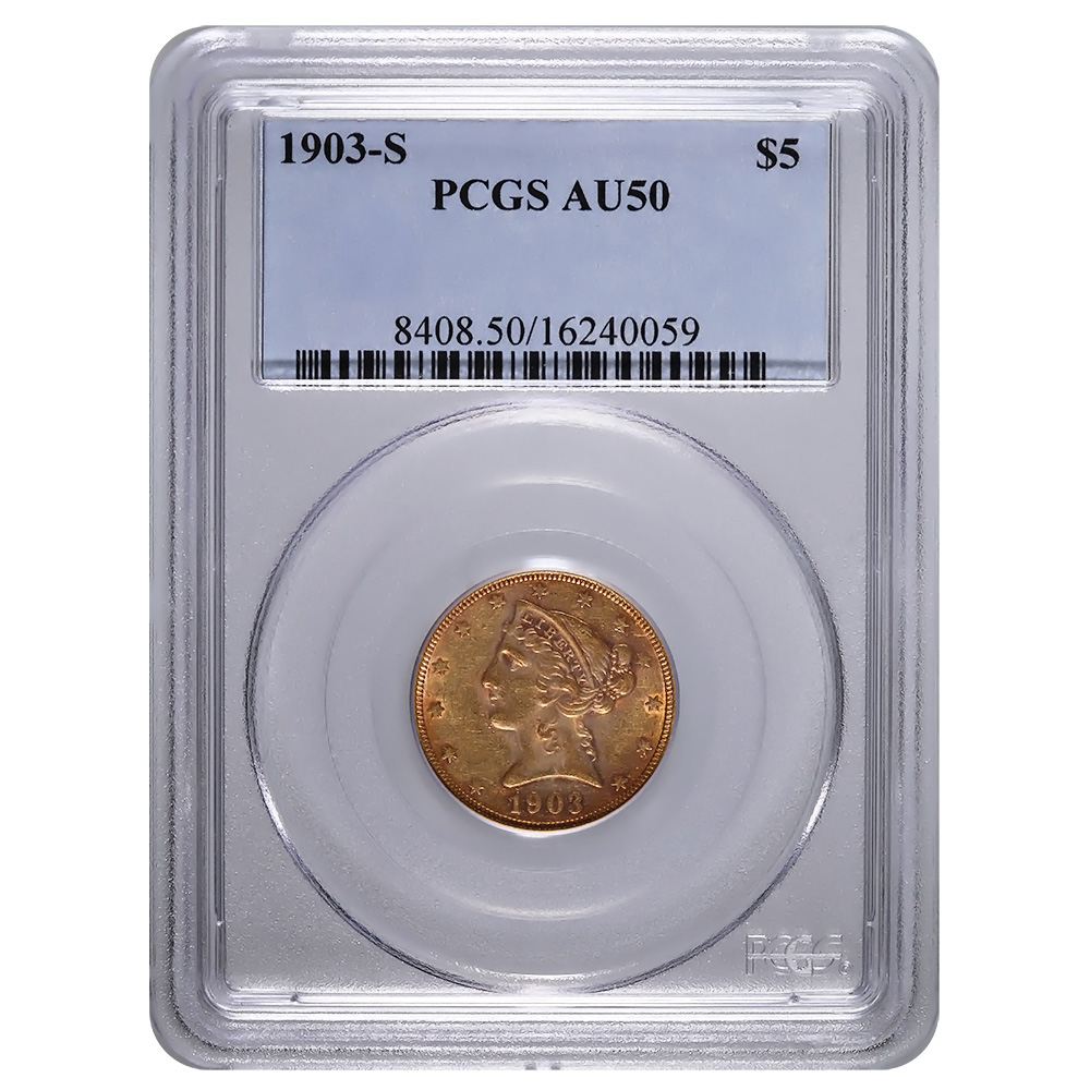 Certified $5 Gold Liberty 1903-S AU50 PCGS