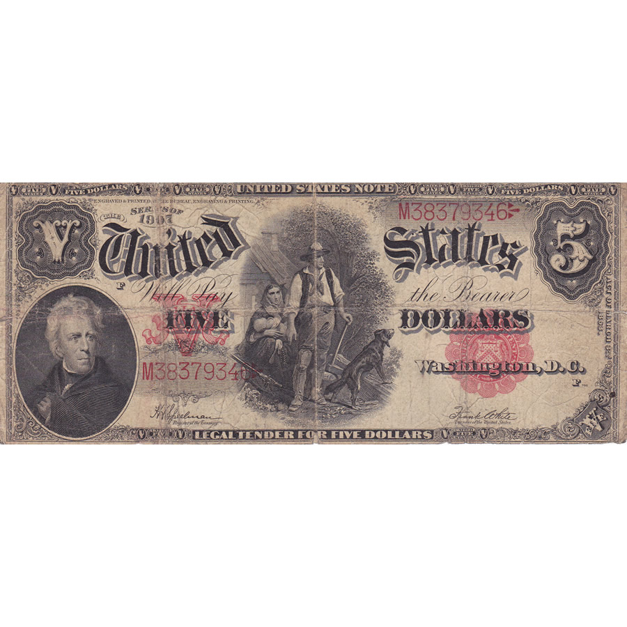 1907 $5 Legal Tender Note G-VG