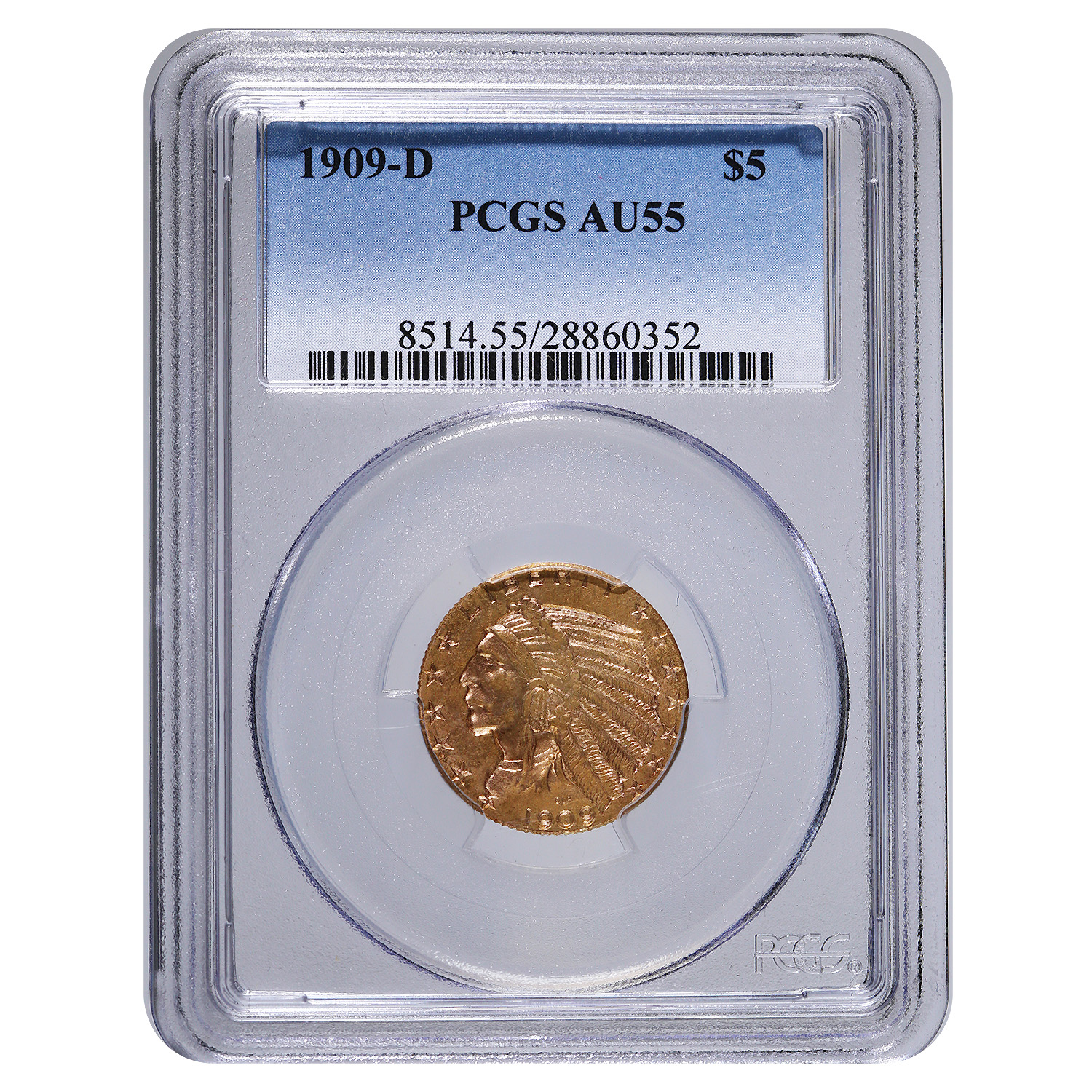 Certified $5 Gold Indian 1909-D AU55 PCGS