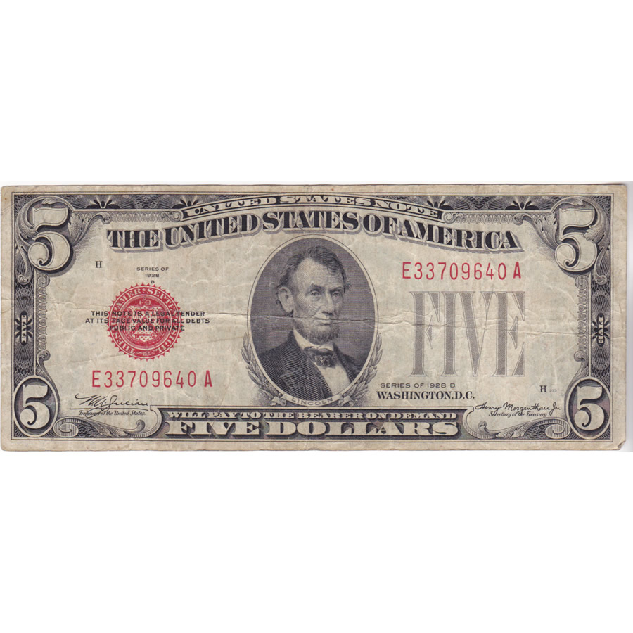 1928B $5 United States Note Red Seal VG-F