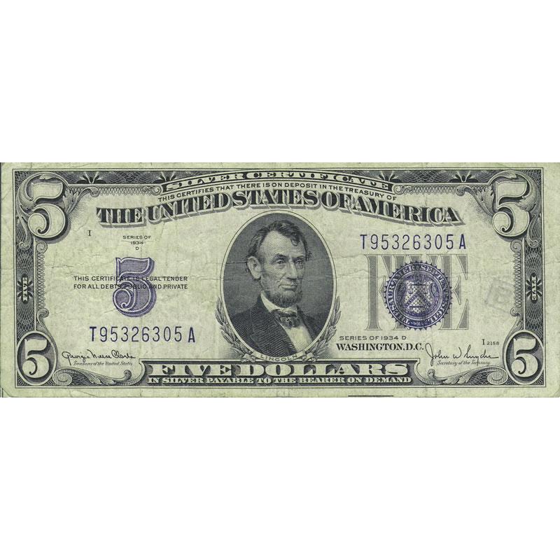 1934D $5 Silver Certificate G-VG   Golden Eagle Coins