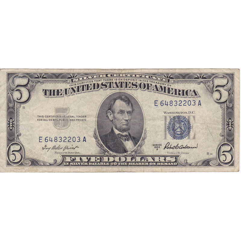 1953 5 Silver Certificate F Vf Golden Eagle Coins