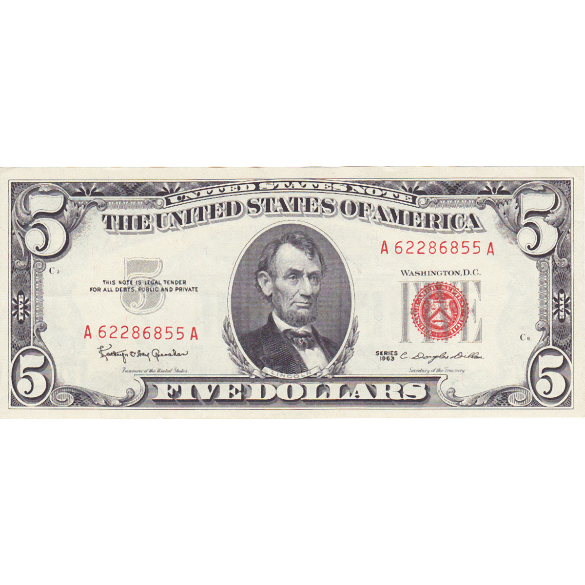 1963 $5 Red Seal Note UNC