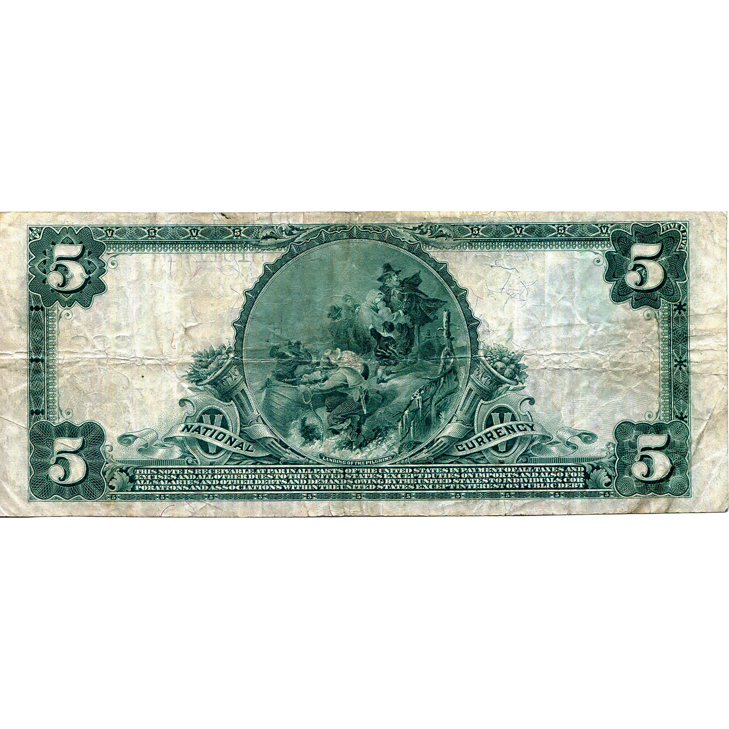 1902 $5 National Bank Note Gloucester MA Charter #899 F