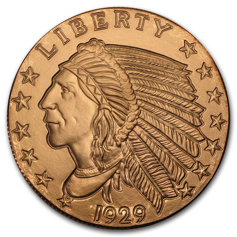 Copper Bullion 5 Oz Incuse Indian Round Golden Eagle Coins