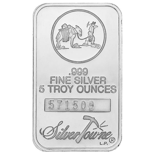 Silvertowne 5 Oz Silver Bar Prospector Design Golden