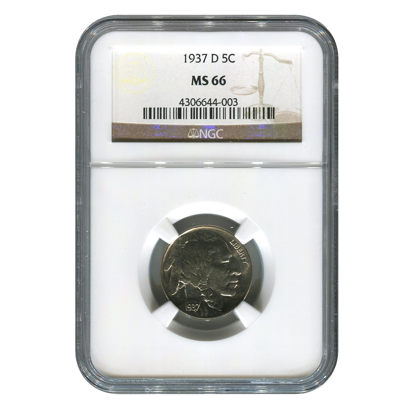 Certified Buffalo Nickel 1937-D MS66 NGC