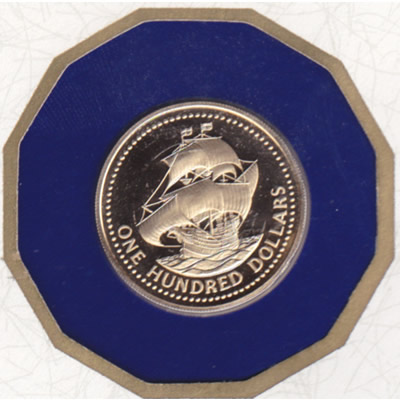 Barbados 1975 $100 Gold Proof Ship