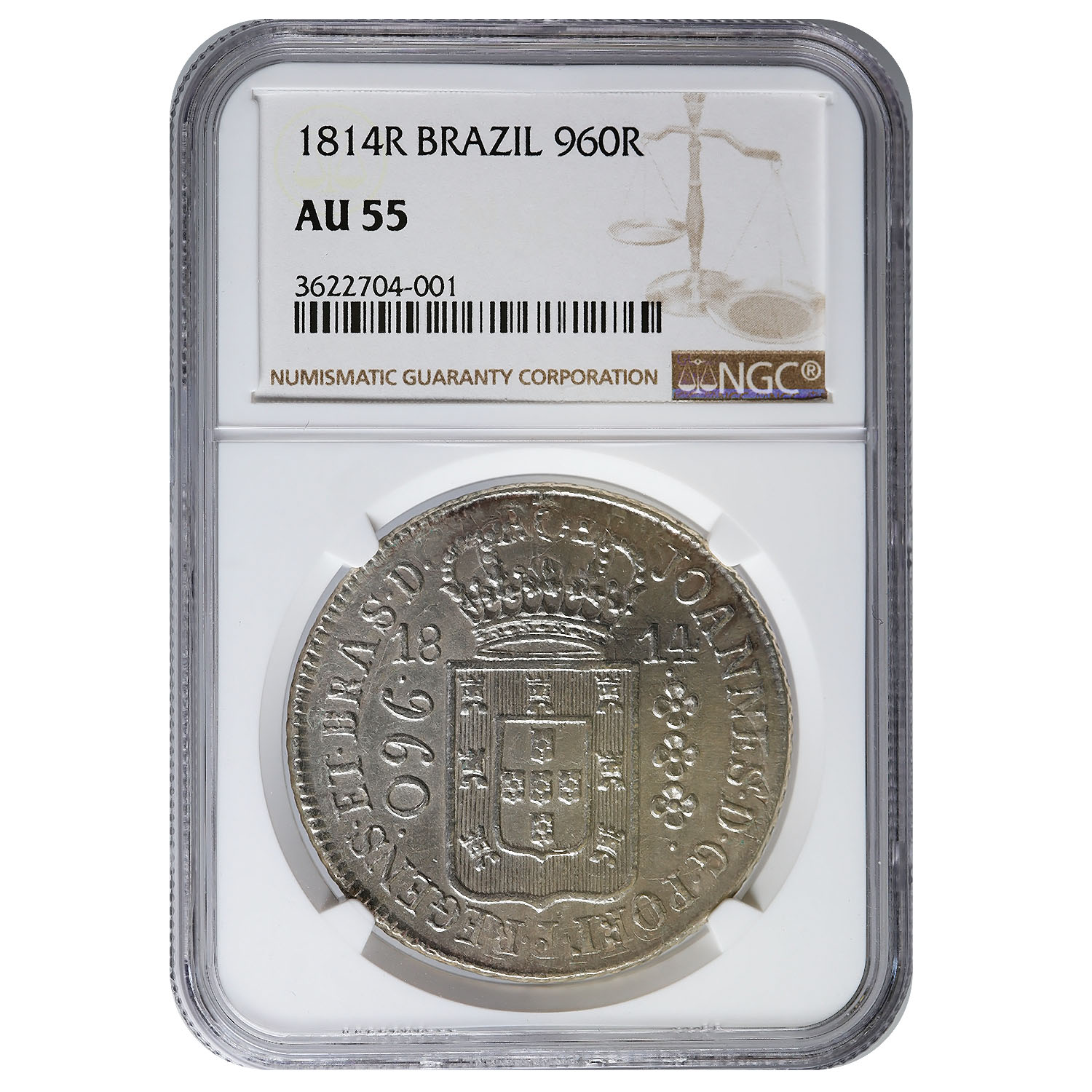 Brazil 960 Reis 1814R AU55 NGC Overstruck on 8 Reales